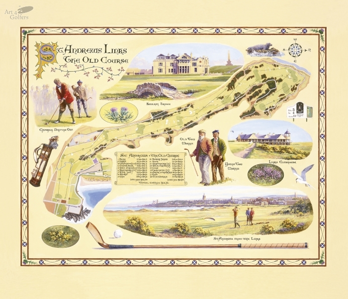 St Andrews Links - The Old Course Illuminated Map